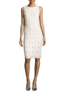 Alice + Olivia Fey Faux-Leather Lace Sheath Dress
