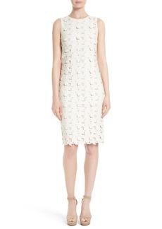 Alice + Olivia Fey Faux Leather Lace Sheath Dress