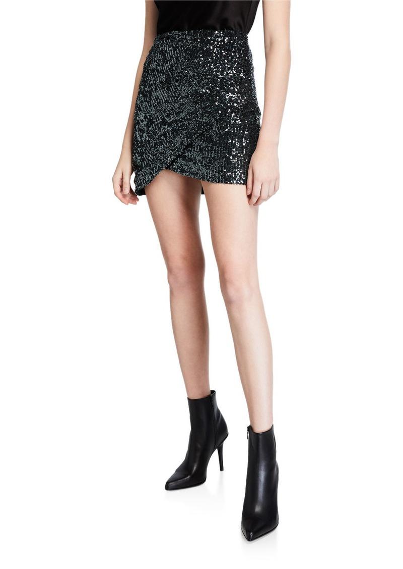 Alice + Olivia Fidela Embellished Draped Mini Skirt