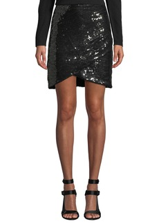 Alice + Olivia Fidela Embellished Draped Mini Skirt