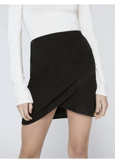 alice + olivia FIDELA SUEDE DRAPED MINI SKIRT