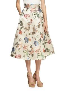Alice + Olivia Fila High-Waist Midi Bell Skirt