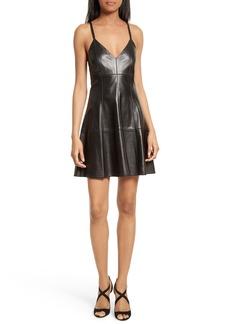 Alice + Olivia Fit & Flare Leather Dress