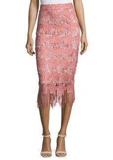 Alice + Olivia Floral Guipure Lace Pencil Skirt