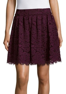 Alice + Olivia Floral Lace A-Line Skirt