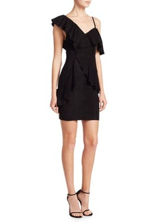 Alice + Olivia Floretta Suede Ruffled Dress