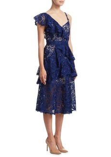 Alice + Olivia Florrie Ruffle Lace Dress