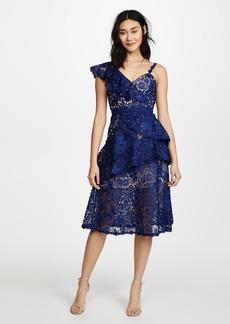 alice + olivia Florrie Ruffle Midi Dress