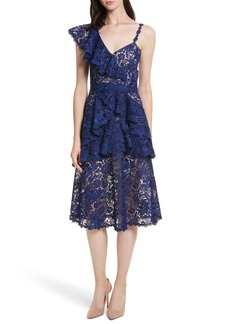 Alice + Olivia Florrie Ruffled Lace Midi Dress