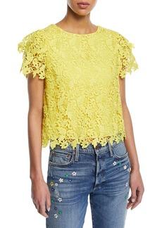 Alice + Olivia Franca Floral Cutout Short-Sleeve Top