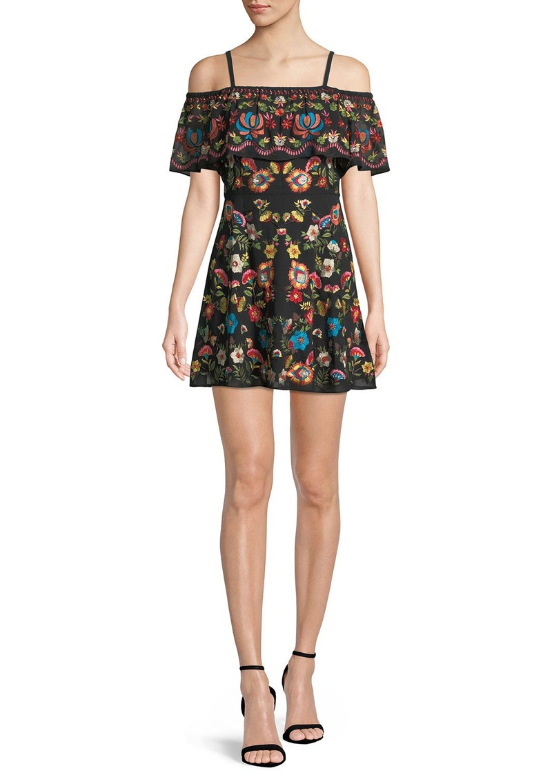 Alice + Olivia Francina Embroidered Off-the-Shoulder Mini Dress