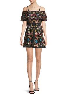 Alice + Olivia Francina Embroidered Off-the-Shoulder Mini Dress
