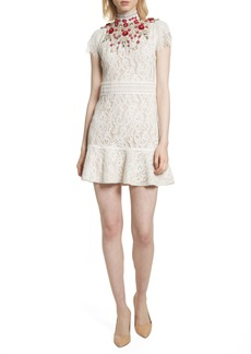 Alice + Olivia Francine Lace Fit & Flare Minidress