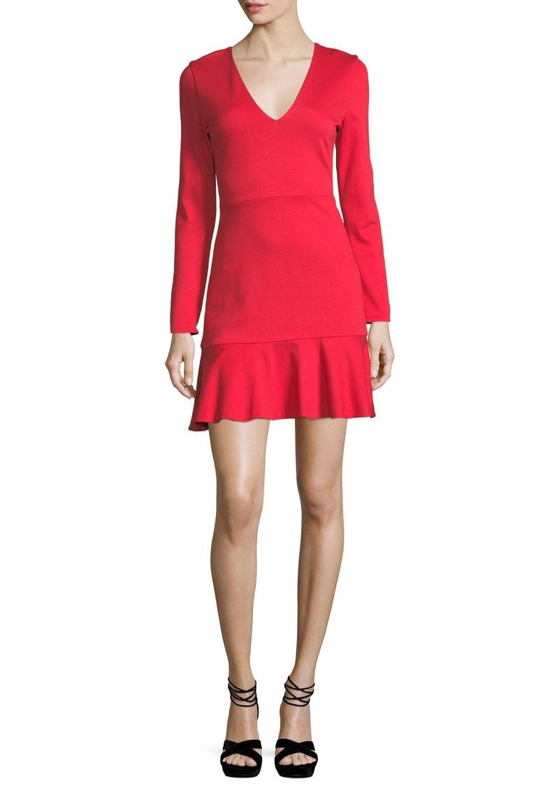 Alice + Olivia Francine V-Neck Fit-and-Flare Short Dress