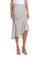 Alice + Olivia Freuda Ruched Floral Asymmetrical Skirt