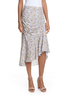 Alice + Olivia Freuda Ruched Floral Asymmetrical Skirt