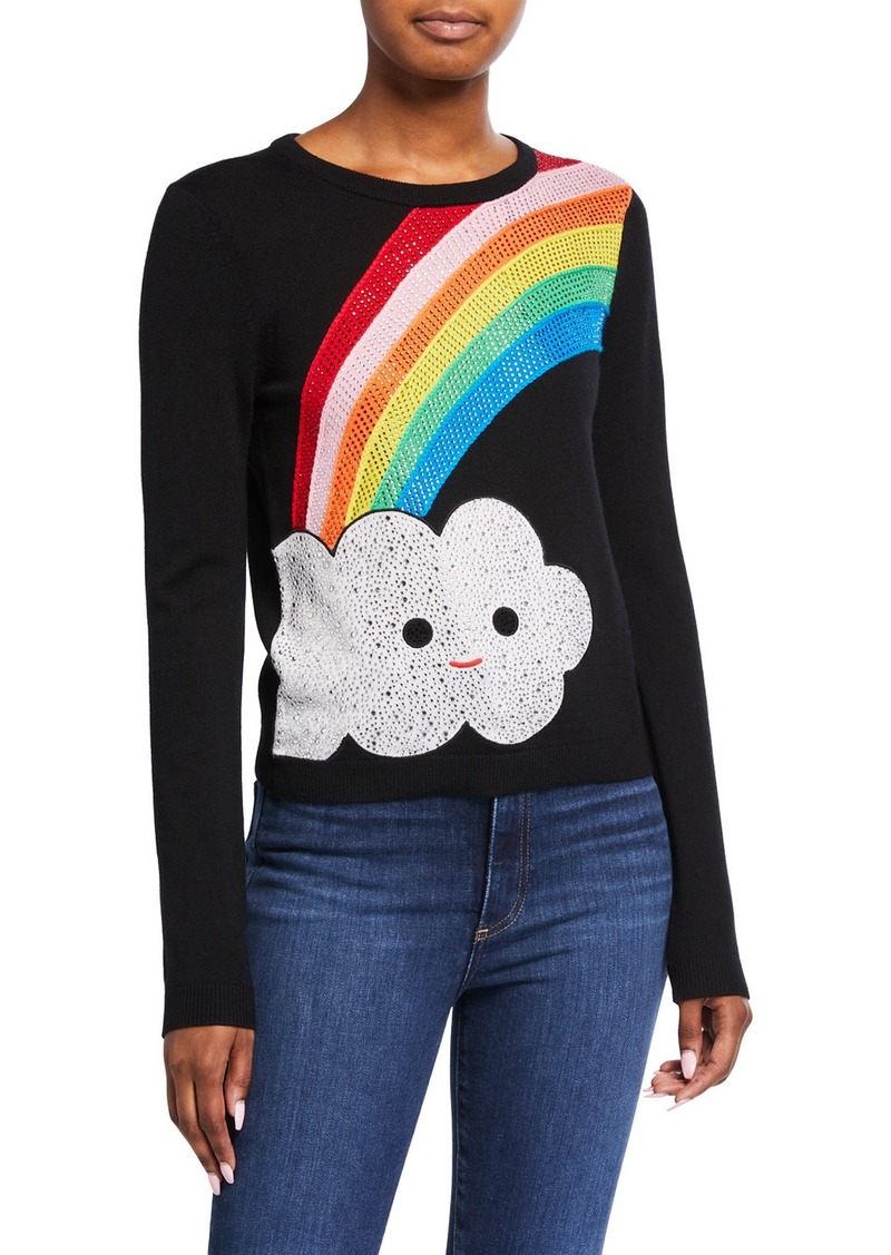 Alice + Olivia Friends With You X Alice + Olivia Connie Embellished Rainbow Pullover