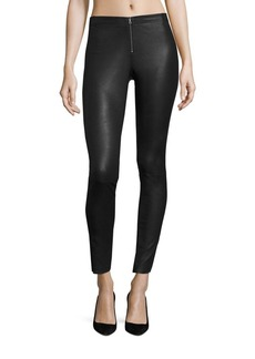 Alice + Olivia Front-Zip Leather Legging