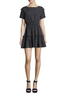 Alice + Olivia Garner Drop-Shoulder Fit-and-Flare Mini Dress