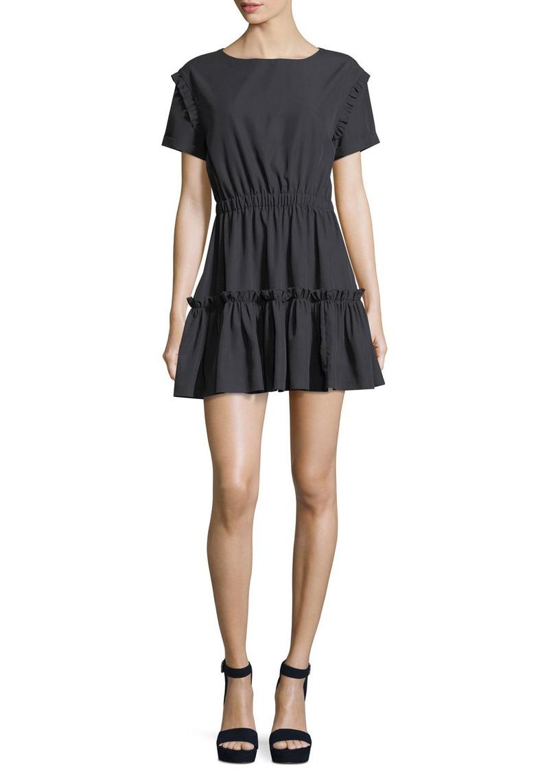 Alice + Olivia Garner Drop-Shoulder Fit-and-Flare Mini Dress