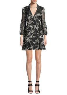 Alice + Olivia Gaston Blouson-Sleeve Wrap Dress