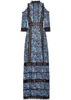Alice + Olivia Gatz lace-trimmed satin-crepe maxi dress