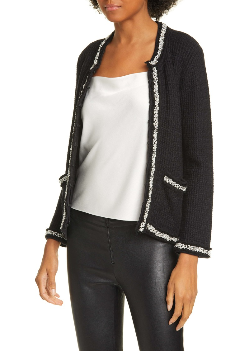 Alice + Olivia Georgia Imitation Pearl Detail Cotton Blend Sweater Jacket