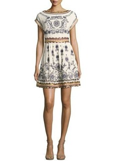 Alice + Olivia Gertie Embroidered Flare Dress
