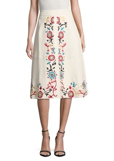 Alice + Olivia Gieselle Embroidered Leather Skirt