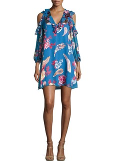 Alice + Olivia Giovanna Ruffled Cold-Shoulder Floral-Print Cocktail Dress