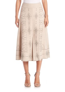 Alice + Olivia Giselle Studded Suede Skirt