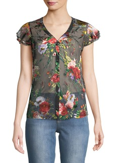 Alice + Olivia Glady Floral-Print Button-Down Sheer Blouse