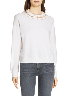 Alice + Olivia Gleeson Embellished Neck Sweater