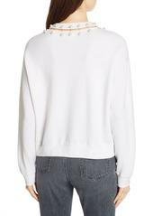 Alice + Olivia Gleeson Embellished Neck Sweater