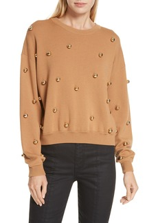 Alice + Olivia Gleeson Metal Ball Detail Wool Blend Sweater
