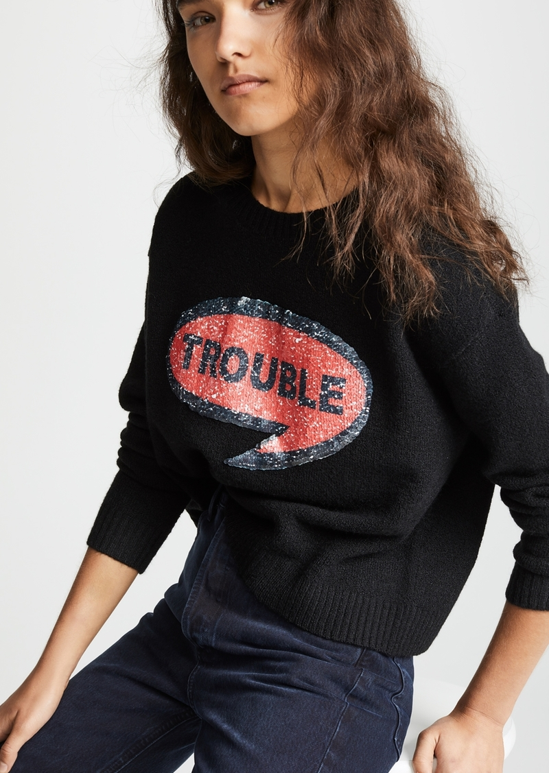 alice + olivia Gleeson Sequin Patch Pullover Sweater