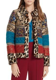 Alice + Olivia Glennie Patchwork Mixed Media Faux Fur Jacket