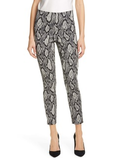 Alice + Olivia Gloriane Snake Print Zip Cuff Crop Pants
