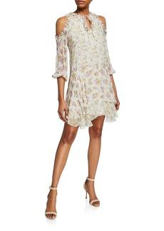 Alice + Olivia Glynda Cold-Shoulder Ruffle Dress
