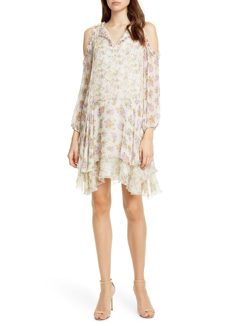 Alice + Olivia Glynda Floral Ruffle Cold Shoulder Dress