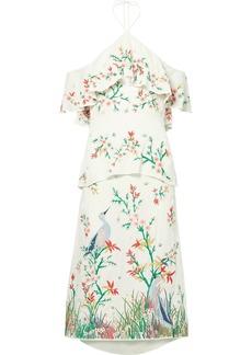 Alice + Olivia Golda off-the-shoulder embroidered georgette halterneck midi dress
