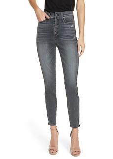 Alice + Olivia Good Side Stripe Skinny Jeans (Black Magic)