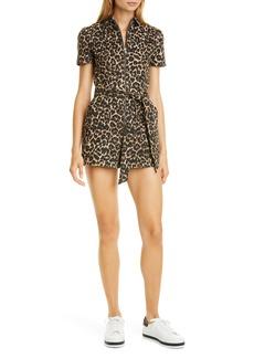 Alice + Olivia Gorgeous Leopard Print Stretch Cotton Romper