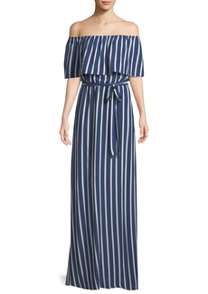 Alice + Olivia Grazi Off-the-Shoulder Striped Maxi Dress