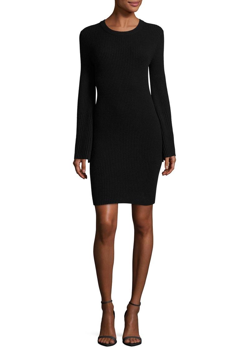 Alice + Olivia Gretel Crewneck Split-Sleeve Ribbed Sweater Dress