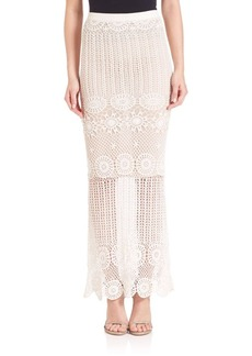 Alice + Olivia Griselda Long Crocheted Skirt