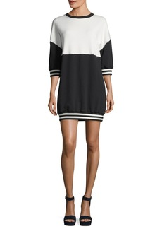 Alice + Olivia Gussie Crewneck Colorblocked Sweatshirt Dress