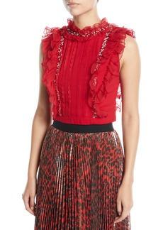 Alice + Olivia Gwen Embellished Pintuck Ruffle Crop Top