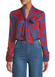 Alice + Olivia Gwenda Cropped Floral Tie-Neck Blouse