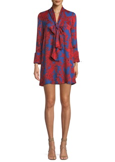 Alice + Olivia Gwenda Floral-Print Tie-Neck Tunic Dress